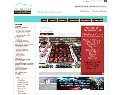 e-commerce Chocolatier Website Glacier Confection Artisan Chocolates - Tulsa, Oklahoma