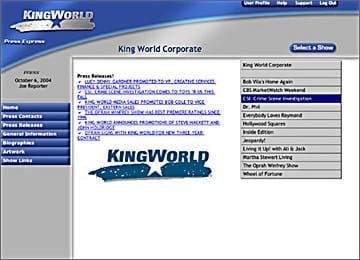 Kingworld Website Corporate Content Management Area