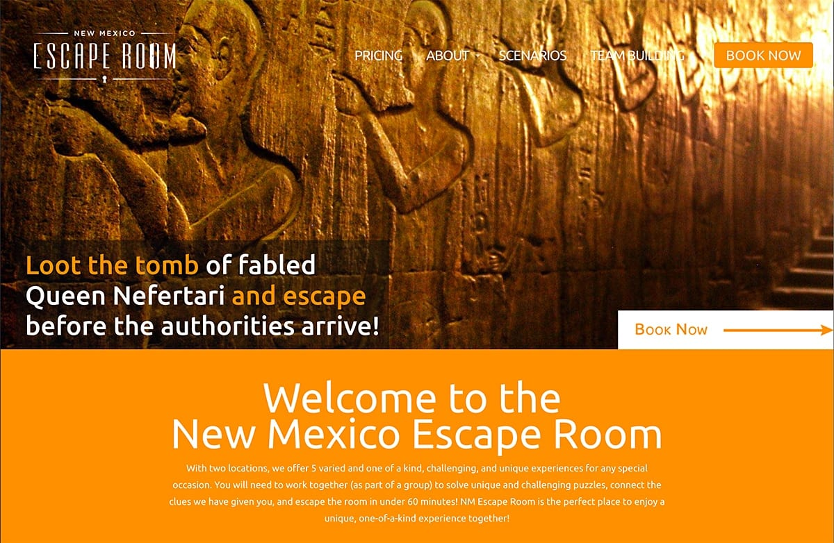 NM Escape Room - Website | SEO | Social Media