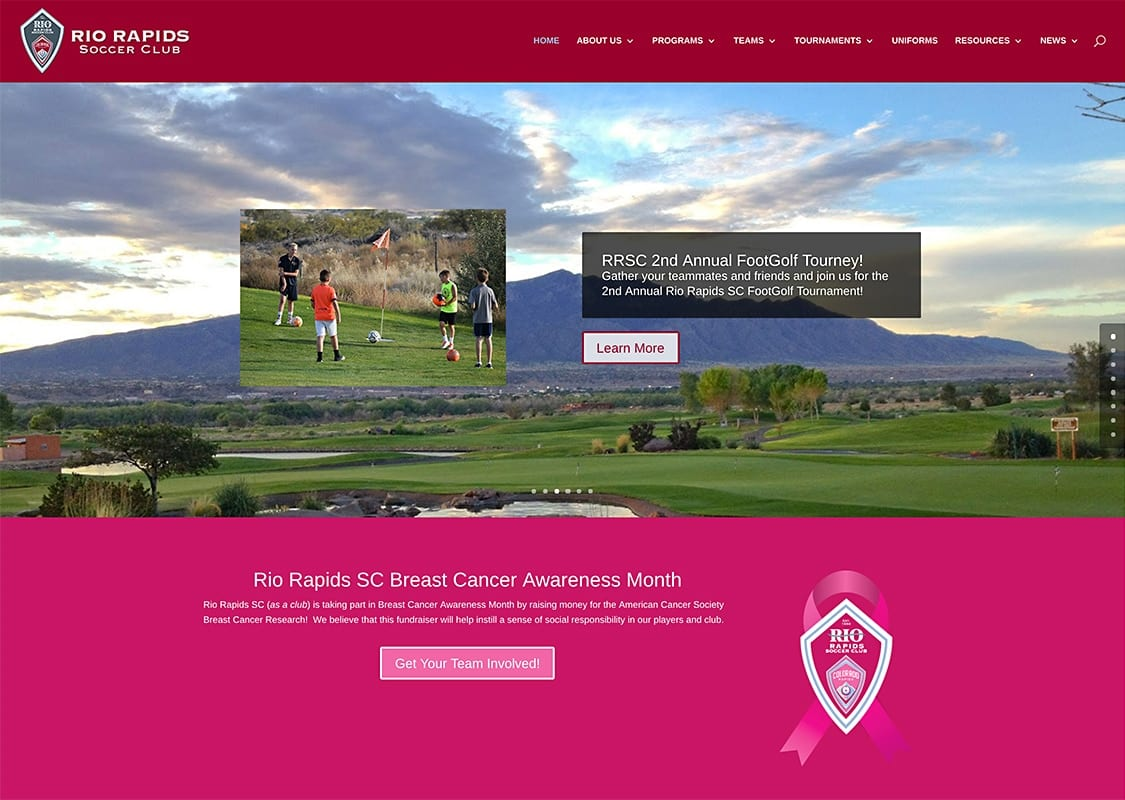 Rio Rapids Soccer Club - Website Design | Maintenance | Hosting | SEO