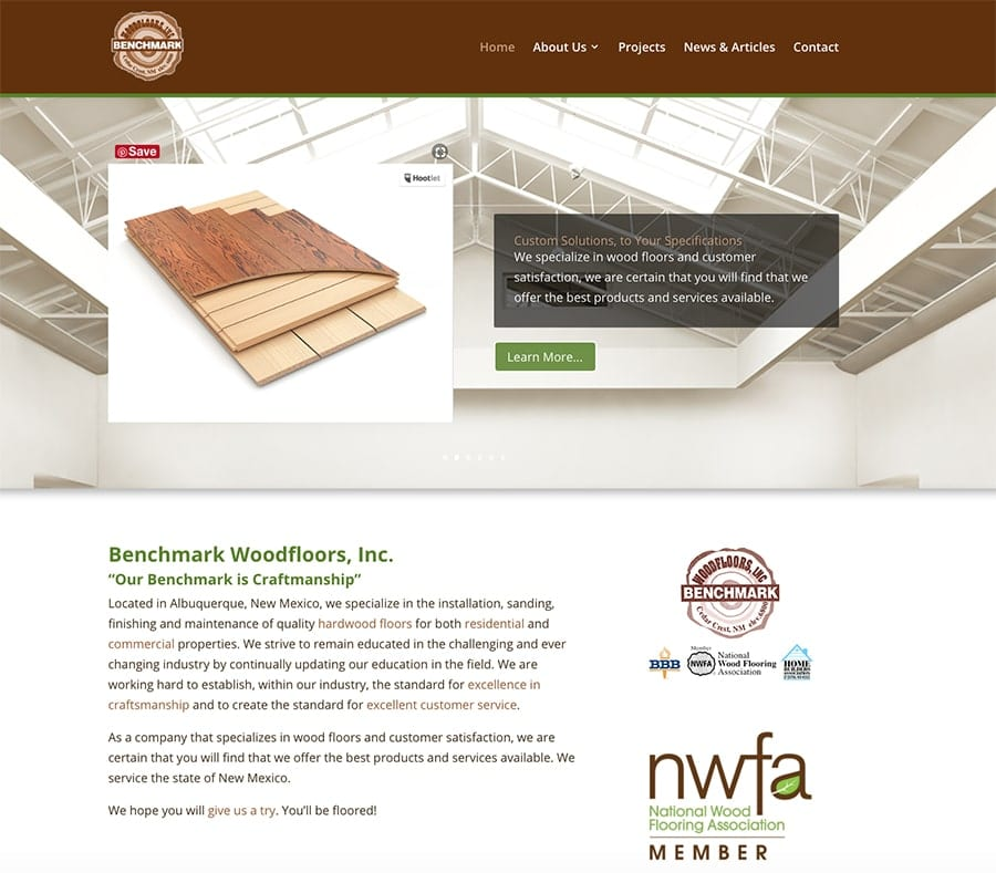 Website Designs 27 Benchmark Woodfloors Albuquerque NM