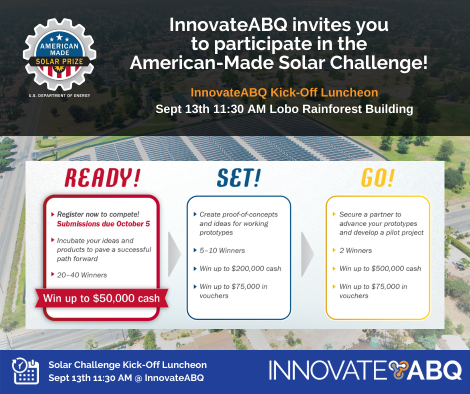 Innovate ABQ America Made Solar Prize Kickoff Luncheon LIonSky Social Media Graphic