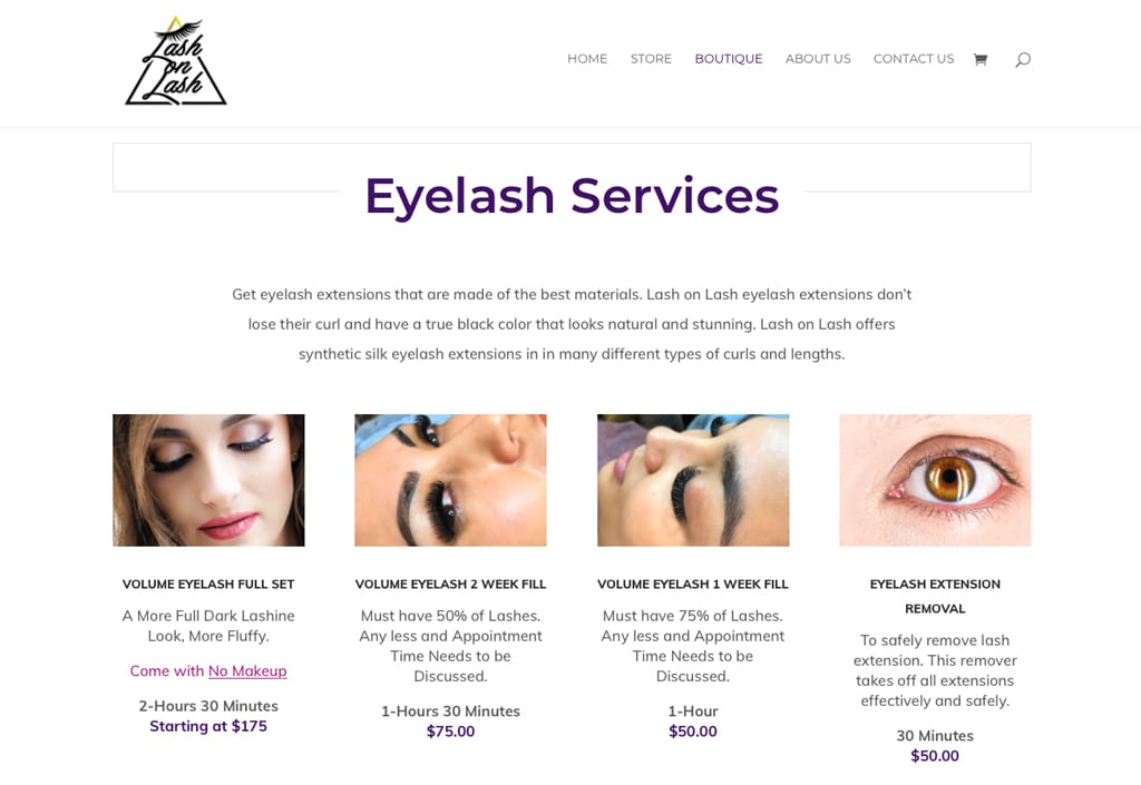 Lash on Lash Eyelash Extensions Website Graphic