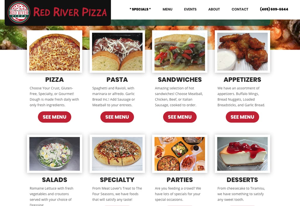 Website Designs 37 Red River Pizza 2 1024x705 1
