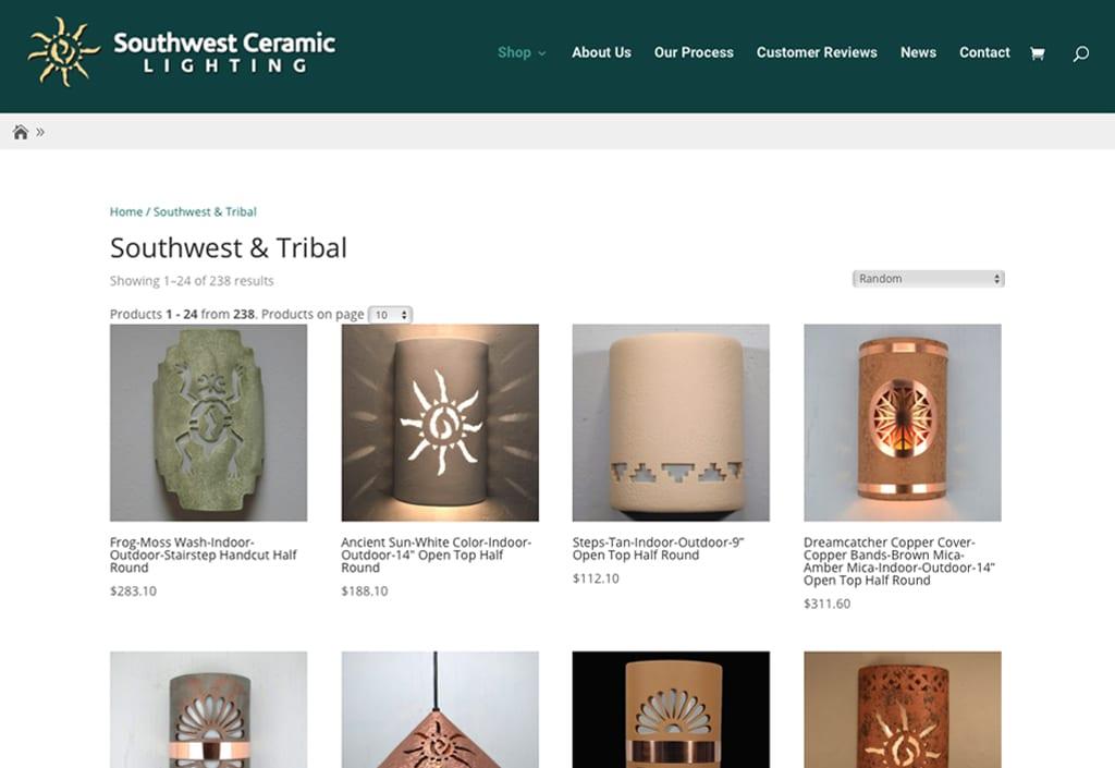 Client Websites 36 Southwest Ceramic Lighting 2 1024x705 1
